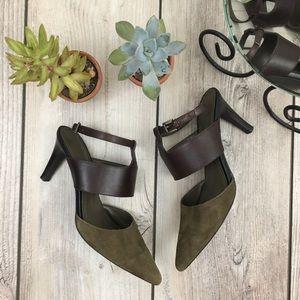 Tahari Comma Leather Ankle Wrap Heels